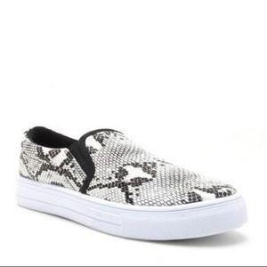 Shoes - Faux Snakeskin Slip-on Sneakers